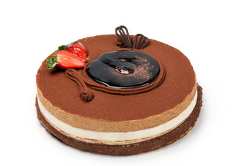 Chocolate cake with strawberrys on white background