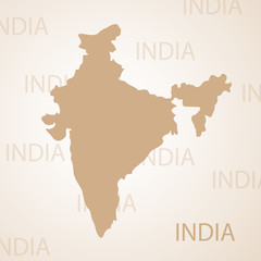 India map brown vector illustration