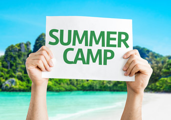 Summer Camp card with beach background