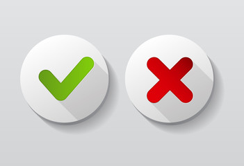 Red and Green Check Mark Icons Button Vector Illustration