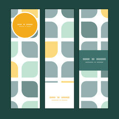 Vector abstract gray yellow rounded squares vertical banners set