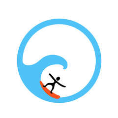 surfer on the wave, vector logo