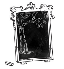 Chalkboard with a tree. Hand drawn. Vector signboard.