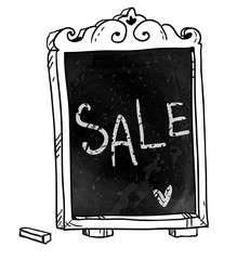 Chalkboard. Hand drawn. Sale announcement. Vector signboard.
