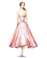 Watercolor fashion illustration. Vector illustration.