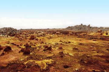 Inside the explosion crater of Dallol volcano, Danakil Depressio