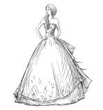Fashion  Vector sketch. Long dress. Bride. - 78077402