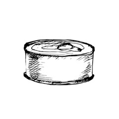 Tin can with ring pull. Vector illustration.