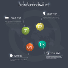 Modern design infographic 3d glossy ball elements template on