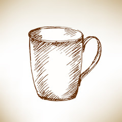Hand drawn cup. Vector illustration.