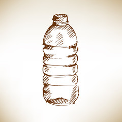 Water bottle. Sketch. Vector illustration.