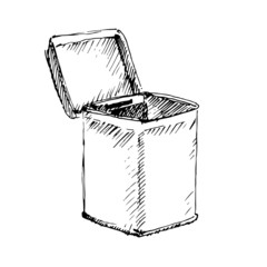 Square tin packaging. Sketch. Vector illustration.