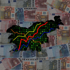 Slovenia map with hex code and graphs on euros illustration
