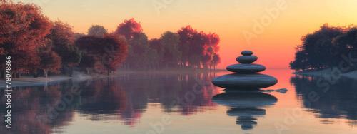 Leinwanddruck Bild Zen stones