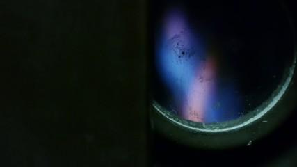 natural gas burner - blue flames - active furnace