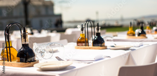 Served table set at restaraunt in New York outdoors - 78079813