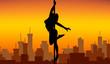 Pole dance women silhouette