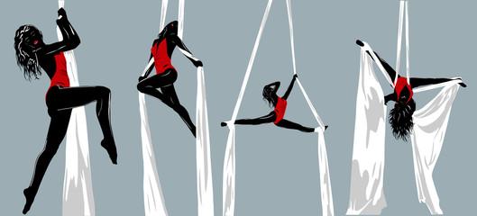 Gymnast silhouettes