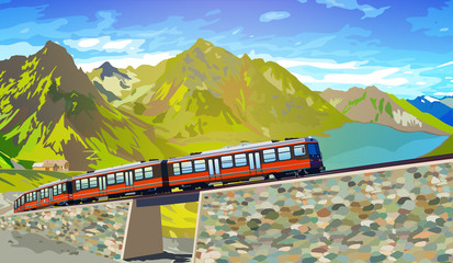 Train in high Alps mountains