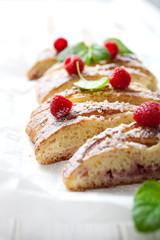 Raspberry sweet roll