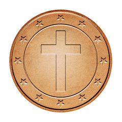 Bronze coin with cross