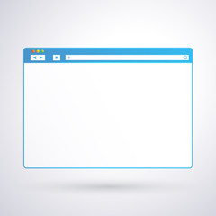 Opened browser window template on light background for your