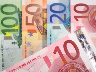 Close up of Euro banknotes with 10 Euros in focus