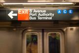 Train at Port Authority  subway station, New York city