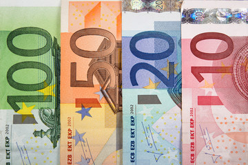 Close up of Euro banknotes with various denomination