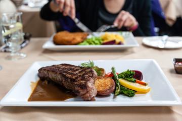 Juicy Steak Meal Served With Fresh Vegetables