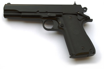 Handgun, US semi-automatic caliber .30 10mm , on white