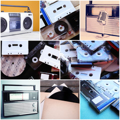 Vinyl records, audio cassettes, microphone, tape recorder and