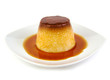 Creme caramel, caramel custard or custard pudding on white - 78082219