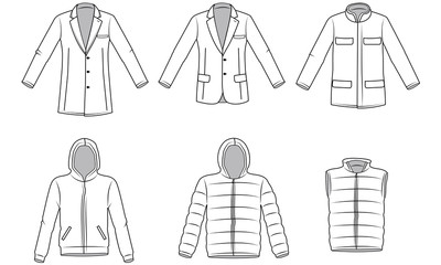 Men's Outerwear clothes, Garment illustration, vector