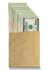 Many dollar bills in an envelope