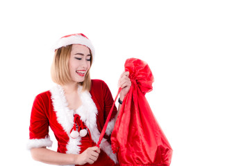 sexy girl wearing santa claus clothes isolated on white
