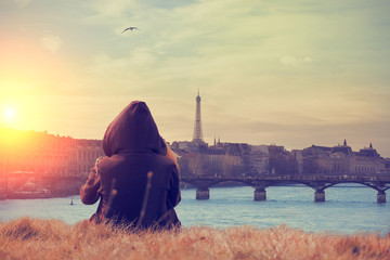 Seine river and Eiffel tower with lonesome girl. Mosaic.