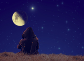 Lonesome girl watching stars and Moon.