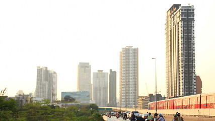 Bangkok traffic on the road and sky train (elevated rail)