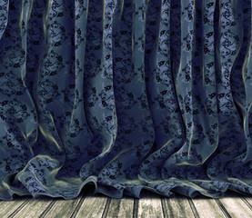 Fondo cortinas retro.Suelo de madera.Tela de flores vintage