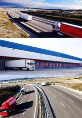 Camiones y transporte. Carreteras y entrega de mercancía.almacén
