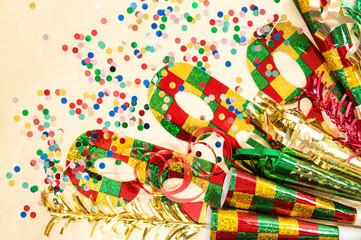 Carnival mask and decorations. Holidays background