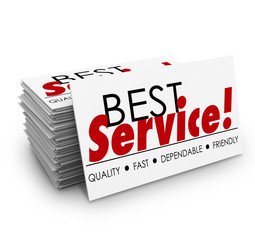 Best Service Quality Dependable Fast Friendly Business Cards