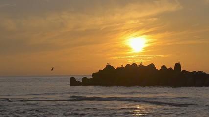 Sunset sea and birds,in Tsuruoka,Yamagata,Japan / 鶴岡の夕暮れ