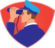Navy Captain Looking Binoculars Shield Retro - 78086627