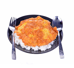 Rice, tasty savory omelette popular on black and white backgroun