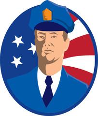 American Police Officer Policeman Flag Retro