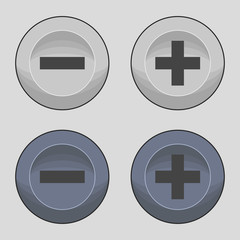Buttons plus or minus icons