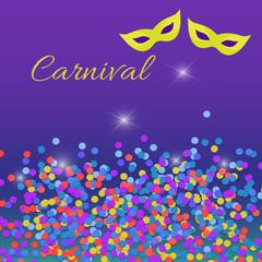 Carnival confetti and masks. Mardi Gras, carnival background