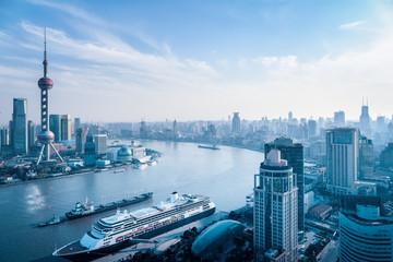 aerial view of huangpu river